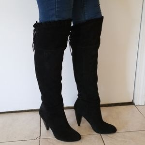 BCBG Generation Black Suede Over The Knee Boots